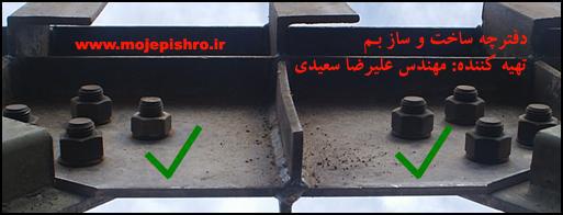 نصب اسکلت فلزی - دفترچه ساخت و ساز - مهندس عليرضا سعيديشکل: نمونه پیچ و مهره استفاده شده با واشر.